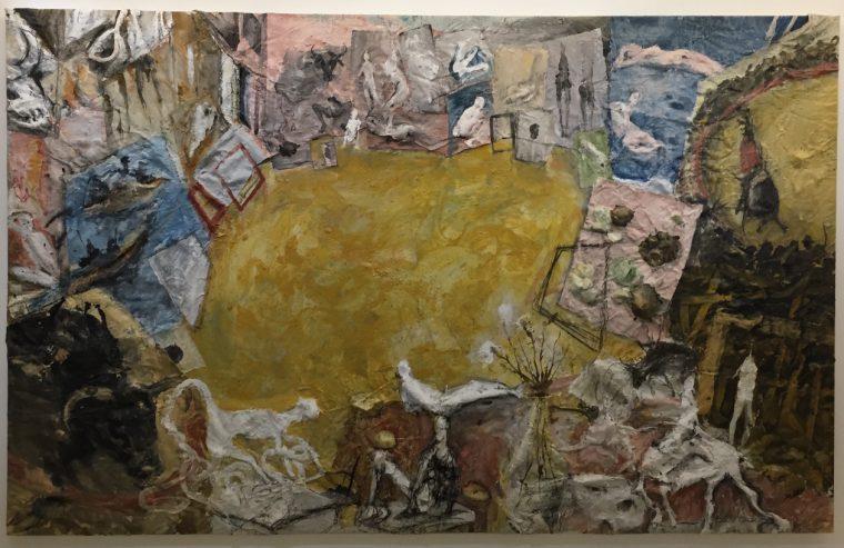 Atelier avec six taureaux, 1994, technique mixte sur toile, 235x375cm ©isabelle henricot